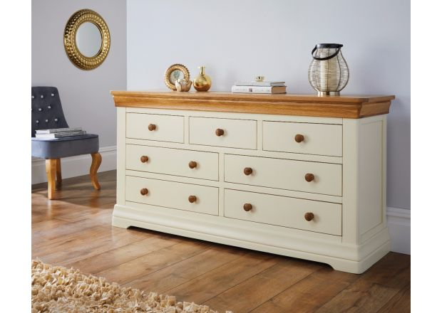 Oak Bedroom Chest Of Drawers - Cream Painted Oak, Small & Large