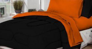 Dorm Bed & Bath Black/Orange 10pc Set for XL Twin College Beds