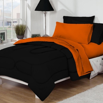 Dorm Bed & Bath Black/Orange 10pc Set for XL Twin College Beds