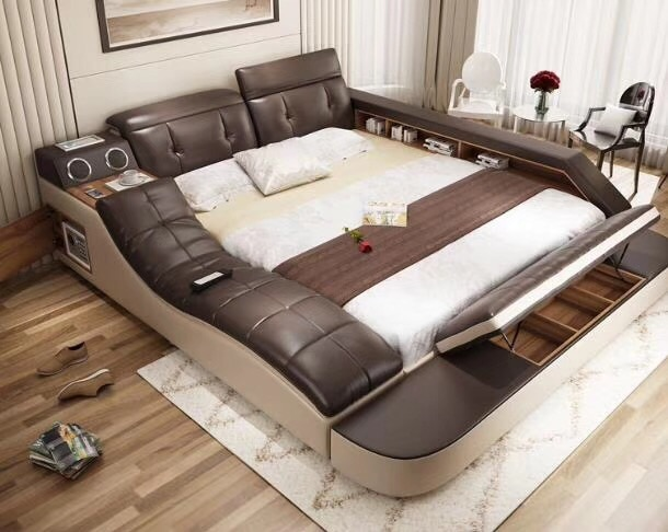real genuine leather bed with massage /double beds frame king/queen