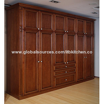 Solid wood wardrobe, cherry color, size can be customized, factory