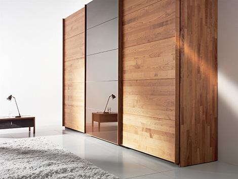 Solid Wood Wardrobe by Team 7 - Valore sliding door wardrobes are