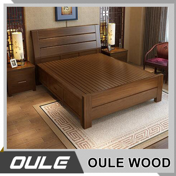 Hot Sale Ash Solid Wood Double Bed New Design Fashion Wooden Bed