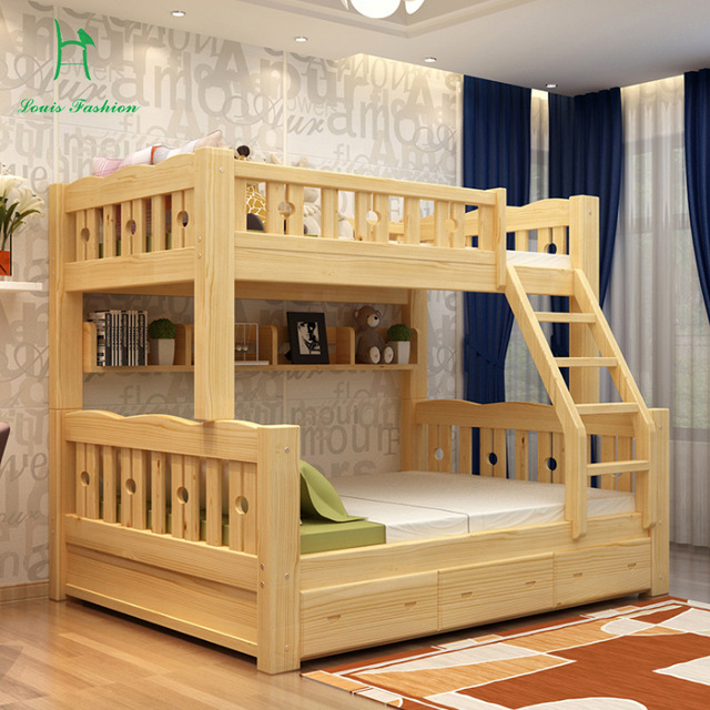 Solid wood bunk bed children bed wooden bed upper and lower level