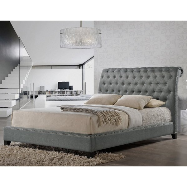 Shop Jazmin Tufted Gray Modern Bed with Upholstered Headboard - Free