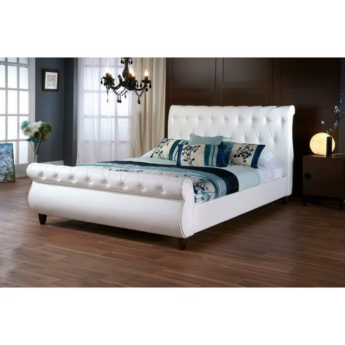 Ashenhurst Modern Full Sleigh Bed with Upholstered Headboard, White