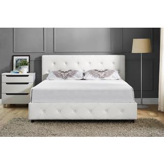 Shop Silver Orchid Ellis White Faux Leather Upholstered Queen Bed