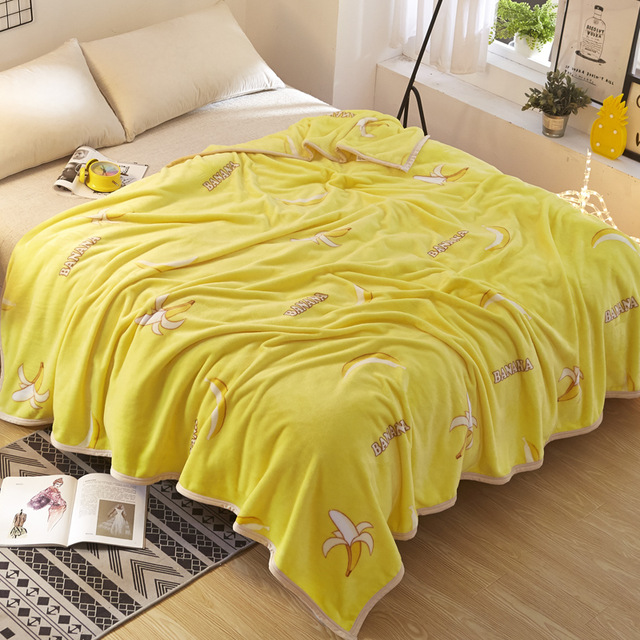 Cartoon Decoration Banana Fleece Blankets for Beds US Flag Throw
