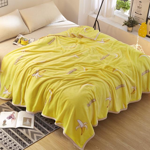 Cartoon Decoration Banana Fleece Blankets for Beds US Flag Throw