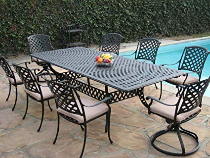 Traveller Location: Cast Aluminum Outdoor Patio Furniture 9 Piece Extension Dining  Table Set with 2 Swivel Rockers KL09KLSS260112T: Garden & Outdoor