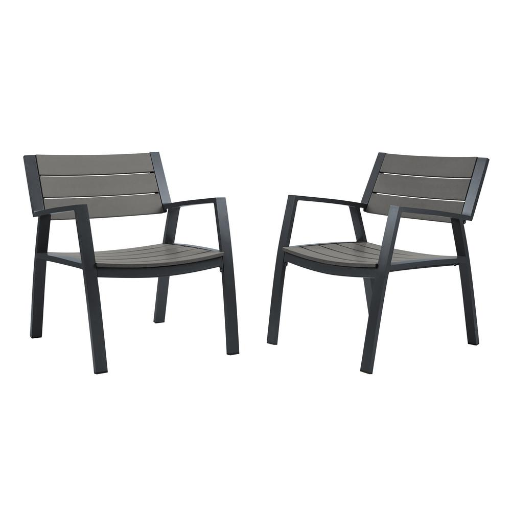 Real Flame Anson 2-Piece All Weather Aluminum Outdoor Patio Casual Lawn  Chairs in Gray