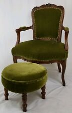 Vintage Louis XVI mahogany and velvet armchair with footstool French Antique