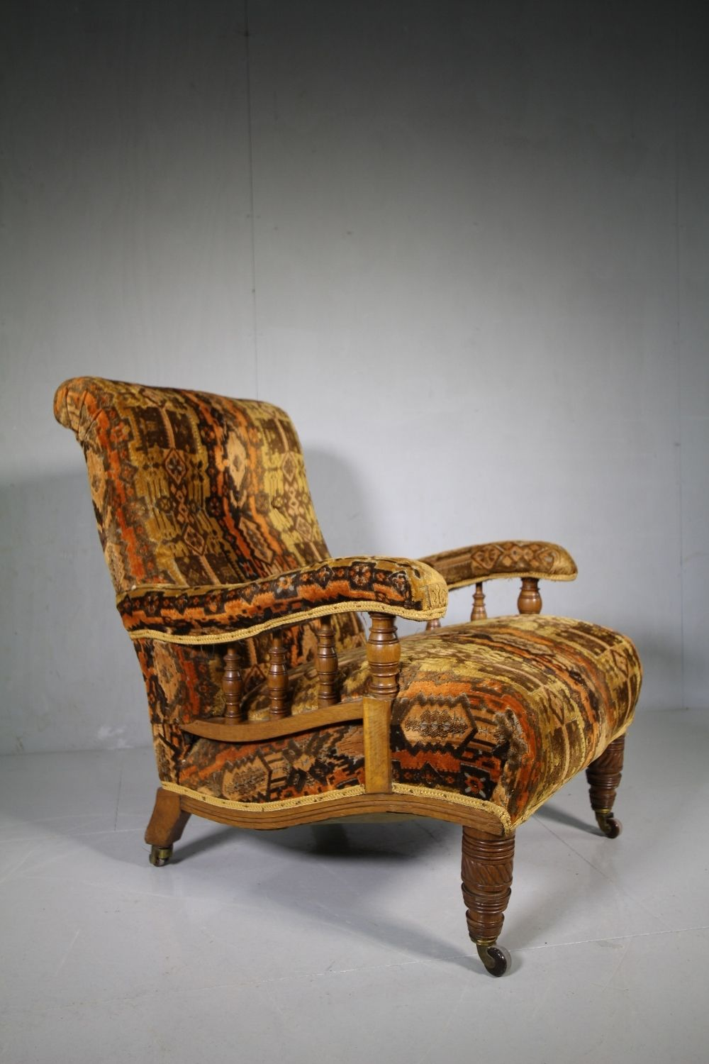 Gillows 19th Century Antique Oak Upholstered Armchair