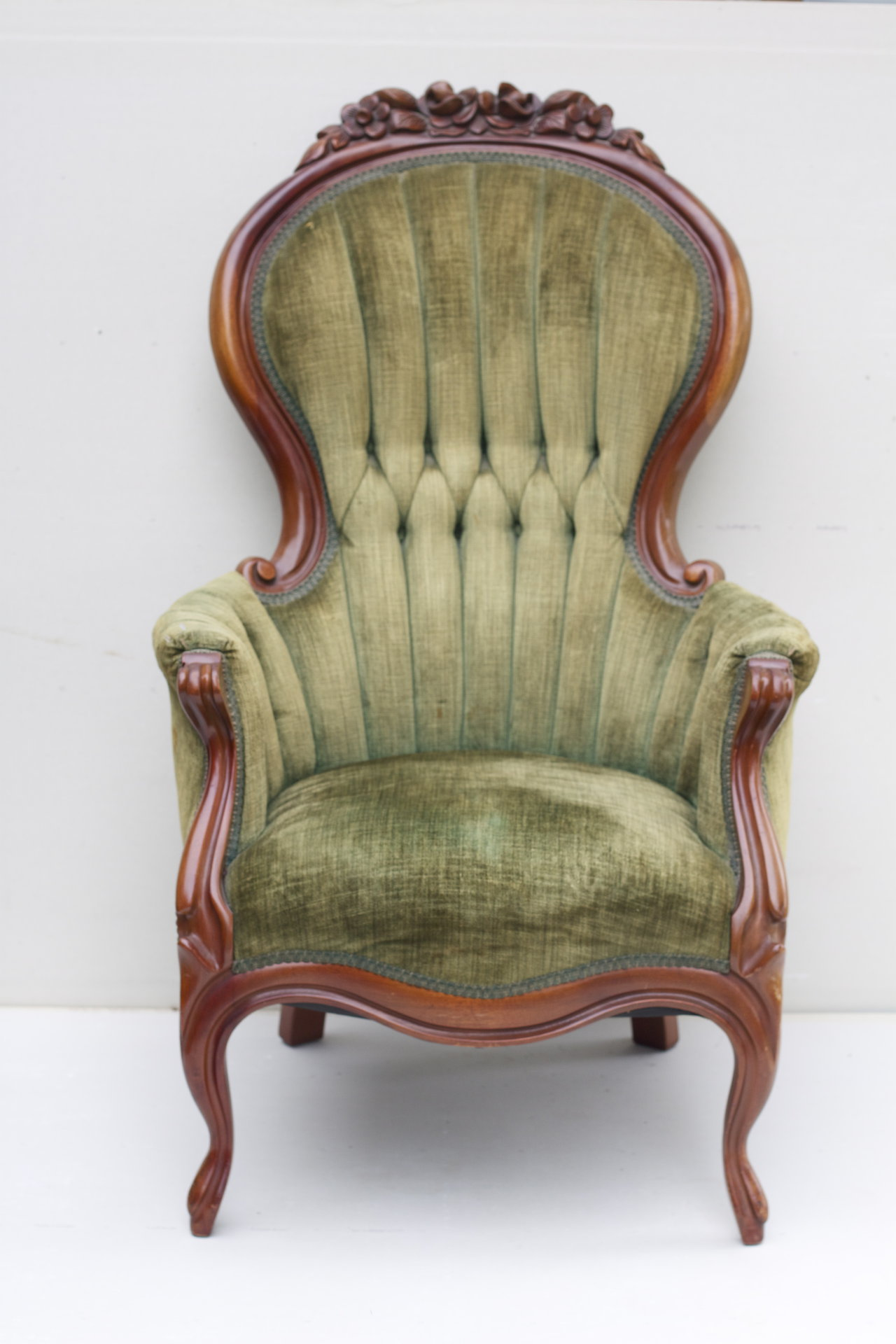 Best Marhamchurch Antiques Chairs Chair Vintage With Tufted Sage Green  Chenille Upholstery And Antique Armchairs Upholstered Armchair Styles Parts  Design