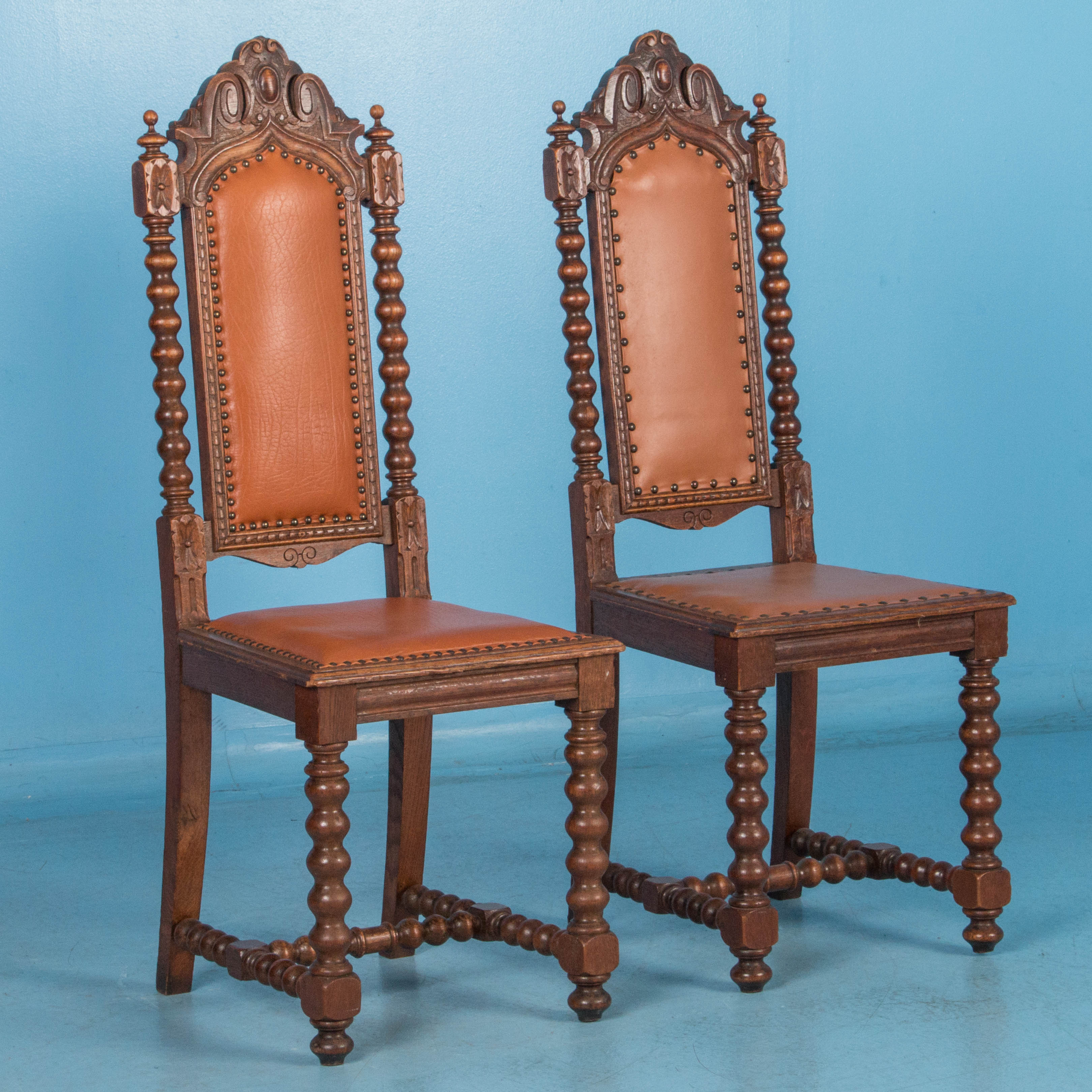 Set of 12 Antique 19th Century Oak High Back Danish Renaissance Side Chairs