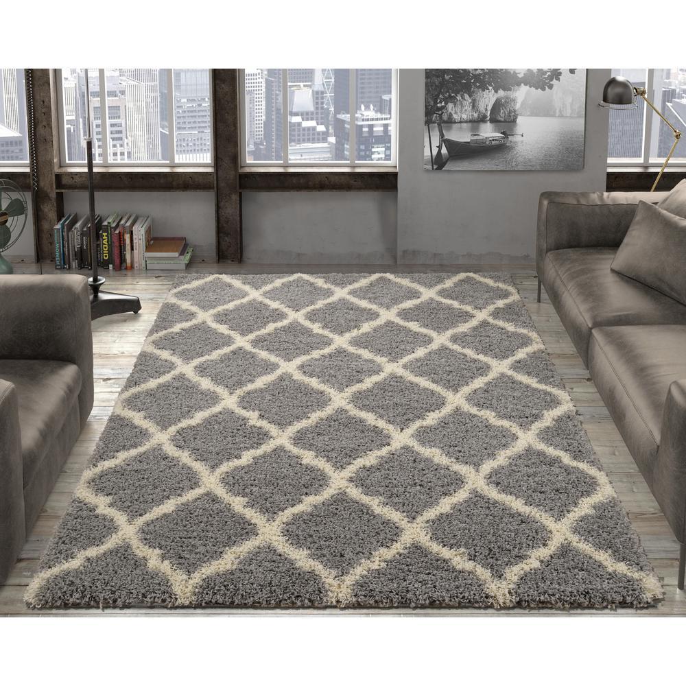 Ottomanson Ultimate Shaggy Contemporary Moroccan Trellis Design Gray 7 ft.  x 9 ft. Area