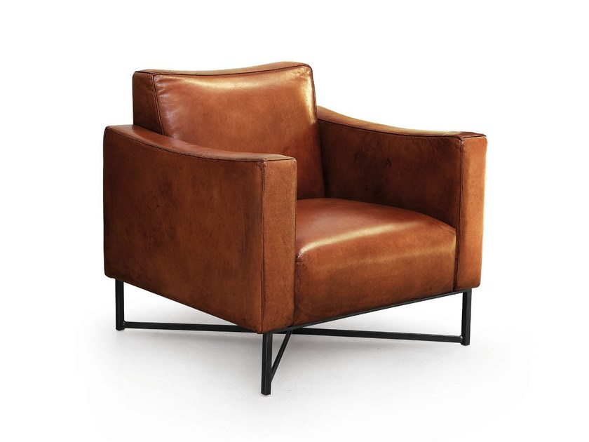 Leather armchair with armrests ONDA | Leather armchair by Oliver B.