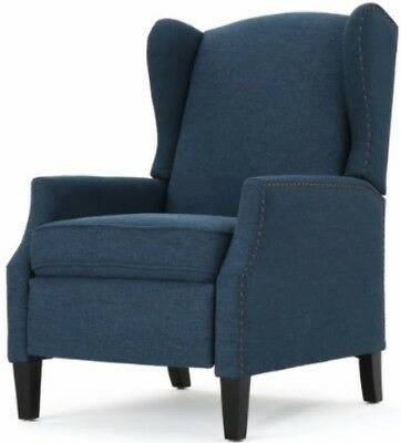 Navy Blue Wingback Accent Club Recliner Chairs Armchair Recliners Wing Arm  Chair