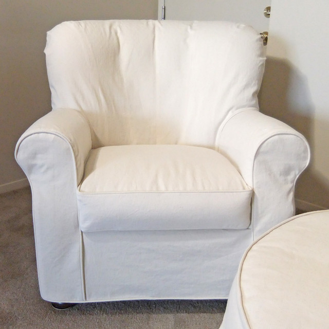 Natural Denim Armchair Slipcover - Traditional - Slipcovers And