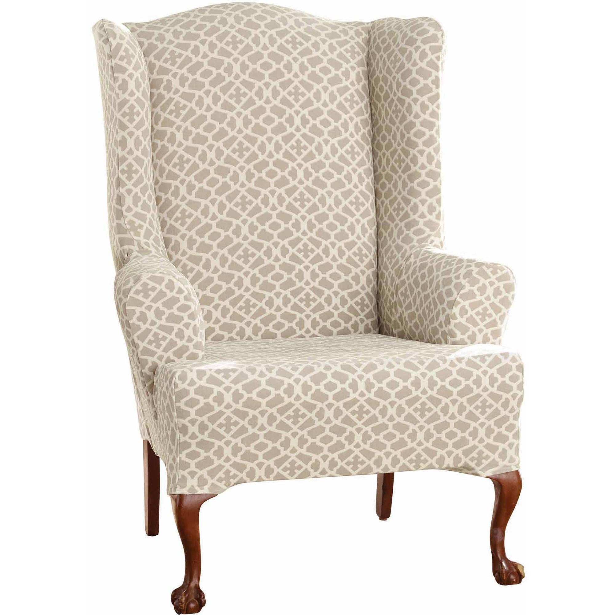 Chairs Stylish Patterned Wingback Chair Style Also Satisfying Living Room  Interior Wing Slipcover Upholstered Beige Pattern Armchair Sofa Couch  Covers