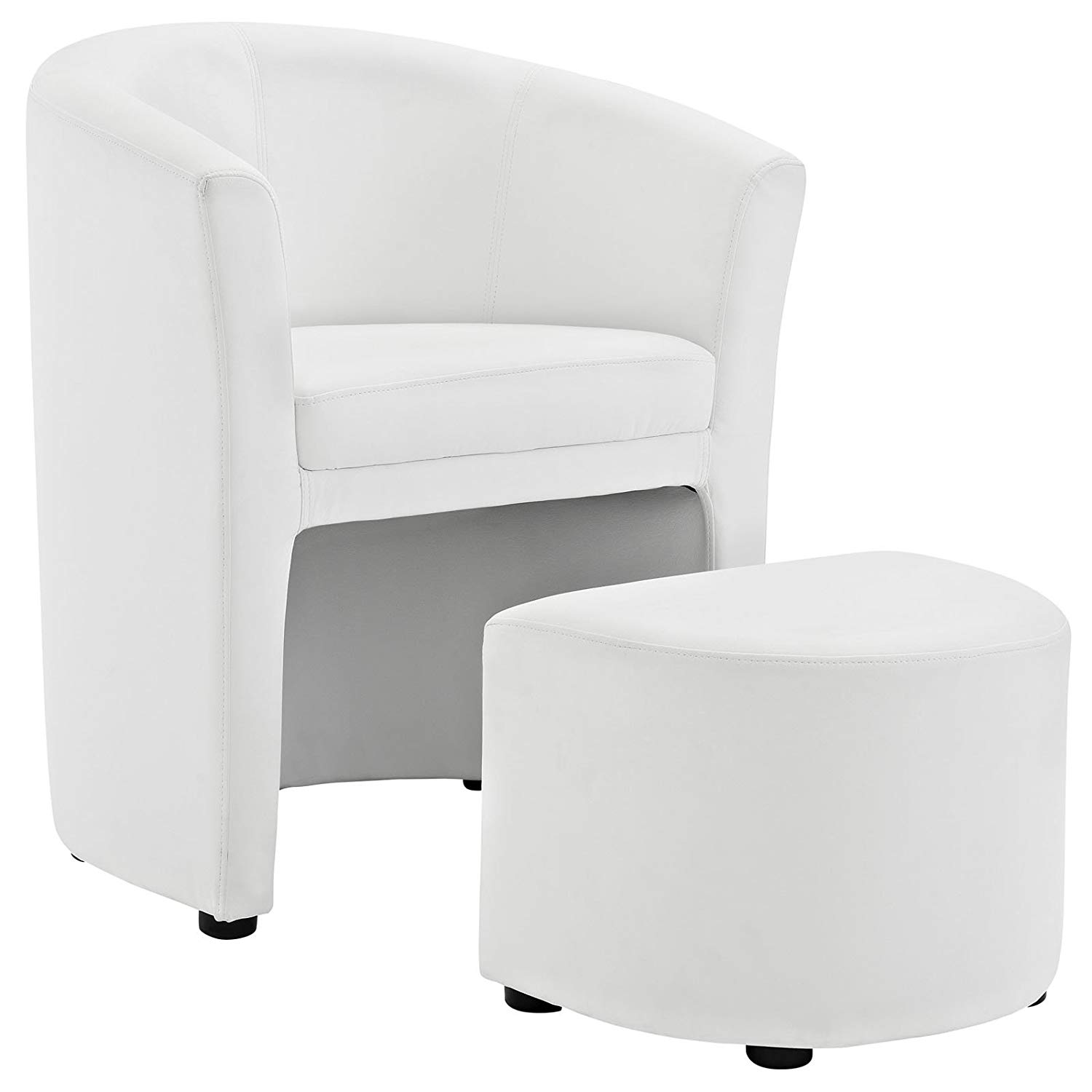 Traveller Location: Modway EEI-1407-WHI Divulge Faux Leather Accent Arm Lounge Chair  and Ottoman 2-Piece Set White: Kitchen & Dining