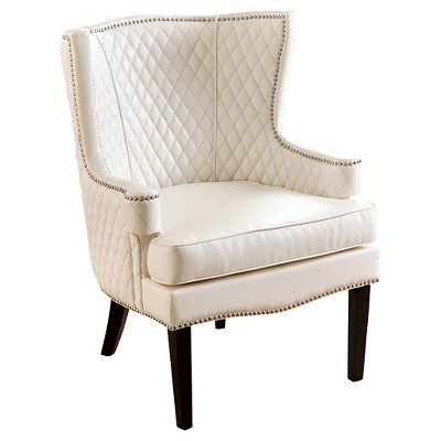Stephanie Quilted Leather Armchair - White - Abbyson Living : Target