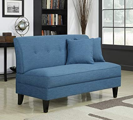 Portfolio Engle Caribbean Blue Linen Armless Loveseat Settee Small Sofa  Couch