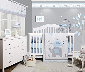 Traveller Location : GEENNY OptimaBaby Blue Grey Elephant 6 Piece Baby Nursery Crib  Bedding Set : Baby