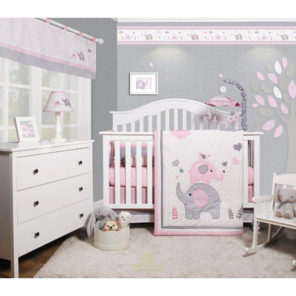 Harriet Bee Cheatwood Elephant Baby Girl Nursery 6 Piece Crib Bedding Set &  Reviews   Wayfair