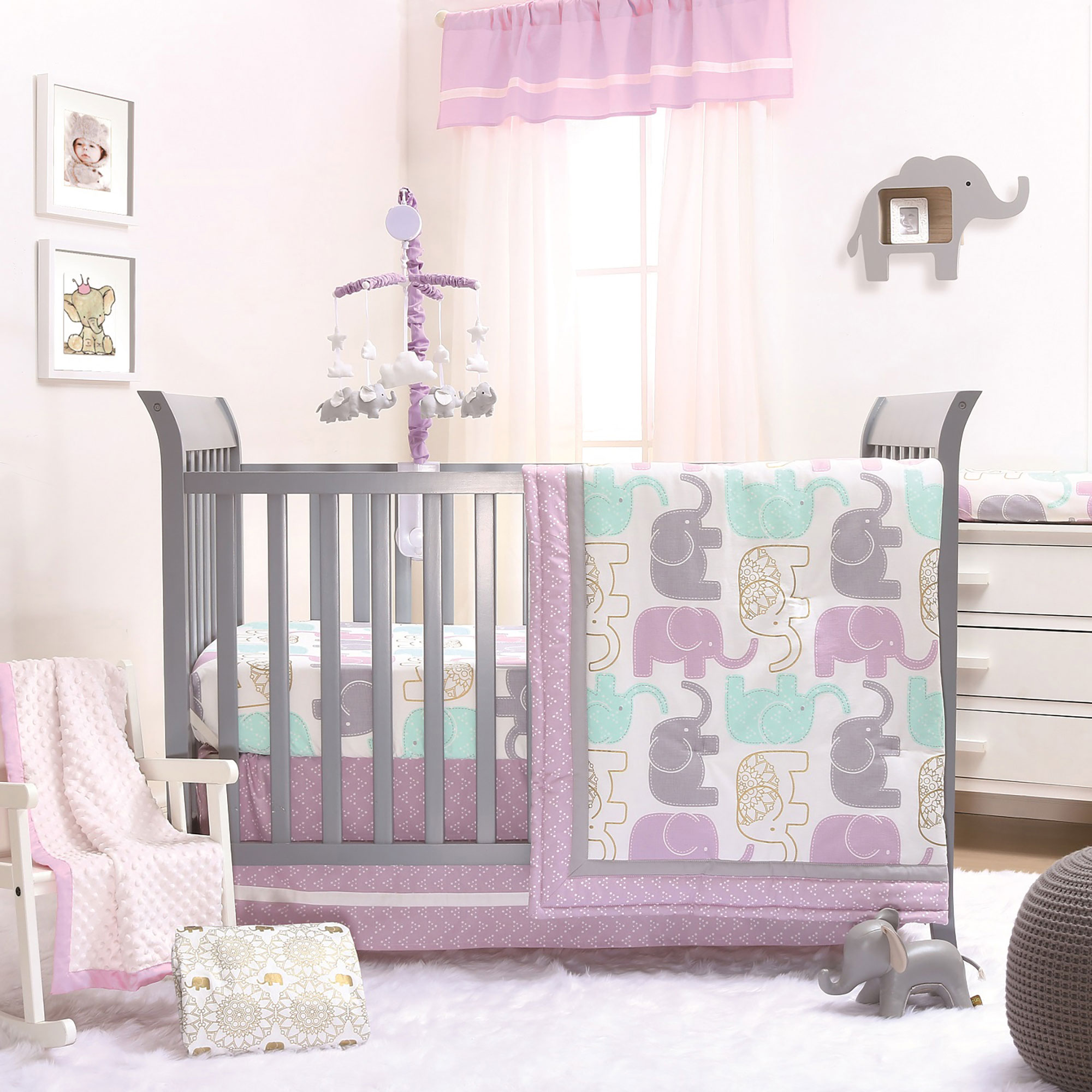 Image is loading Little-Peanut-Lilac-Gold-Elephant-Baby-Girl-Crib-