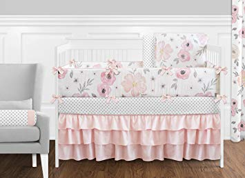 Blush Pink, Grey and White Shabby Chic Watercolor Floral Baby Girl Crib  Bedding Set with Bumper by Sweet Jojo Designs - Rose Flower Polka Dot : Baby