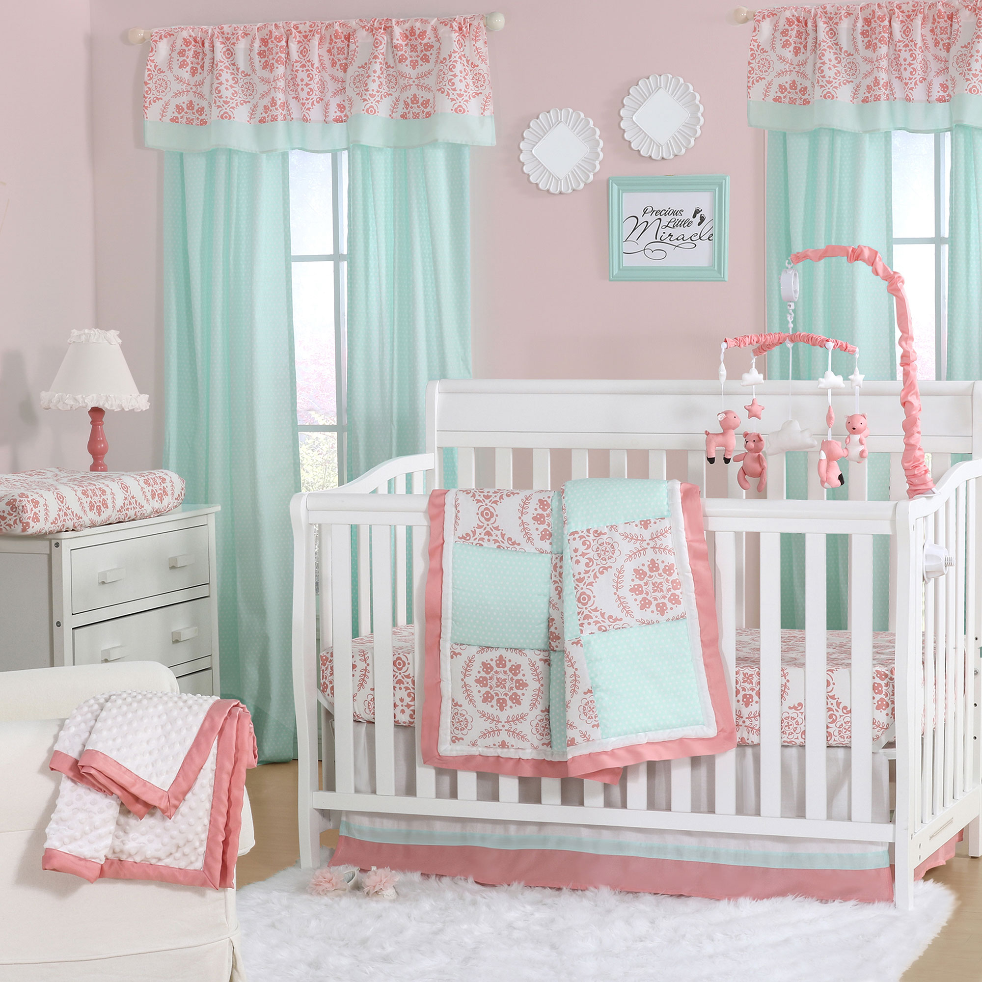Details about Mint Green and Coral Patchwork 3 Piece Baby Crib Bedding Set  by The Peanut Shell