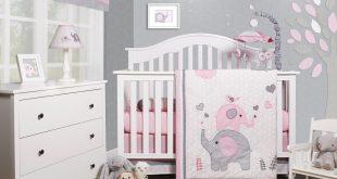 OptimaBaby Pink Grey Elephant 6 Piece Baby Girl Nursery Crib Bedding Set  Image 1 of 1