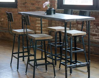 Industrial Bar Height or Counter Height Table made with reclaimed wood &  iron pipe legs. Custom orders welcome. Choose size, height, finish