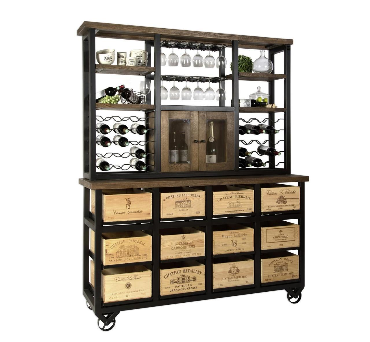 Hobbs Germany Hutch Wine Bar French Vintage Wine Crates Walnut Oak Black