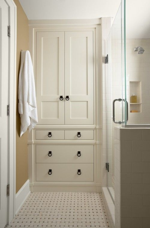 built-in linen closet - bathroom storage inspiration
