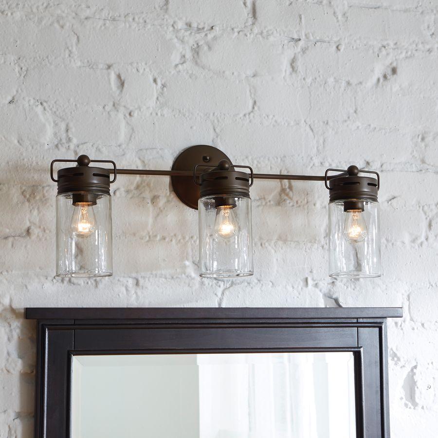 Mason jar inspired bathroom vanity lights with 3 bulbs