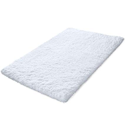 KMAT 32x47 Inch Large Luxury White Bath Mat Soft Shaggy Bathroom Rugs  Non-Slip Rubber