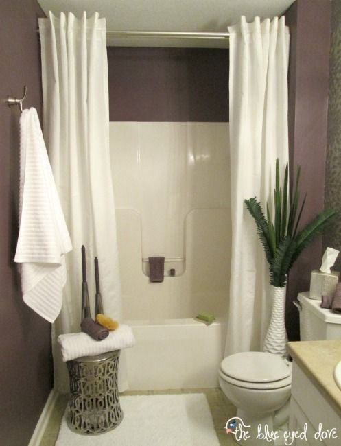Hang a second shower curtain to make your tub seem extra luxurious. in 2019  | Projects/ideas | Pinterest | Spa inspired bathroom, Home Decor and Cheap  home