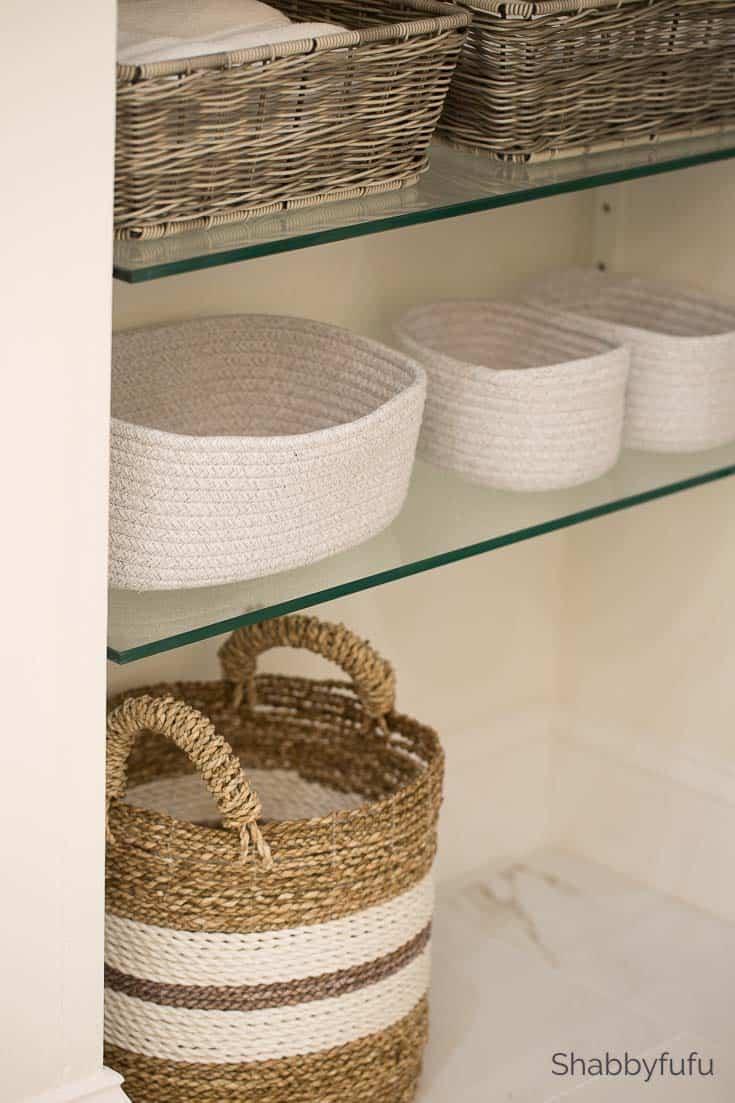 bathroom storage basket ideas for hidden shelving