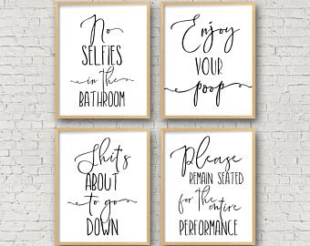 Bathroom Wall Art, No Selfies In The Bathroom, Enjoy Your Poop, Please  Remain Seated, Bathroom Prints Funny Toilet Sign Funny Bathroom Signs