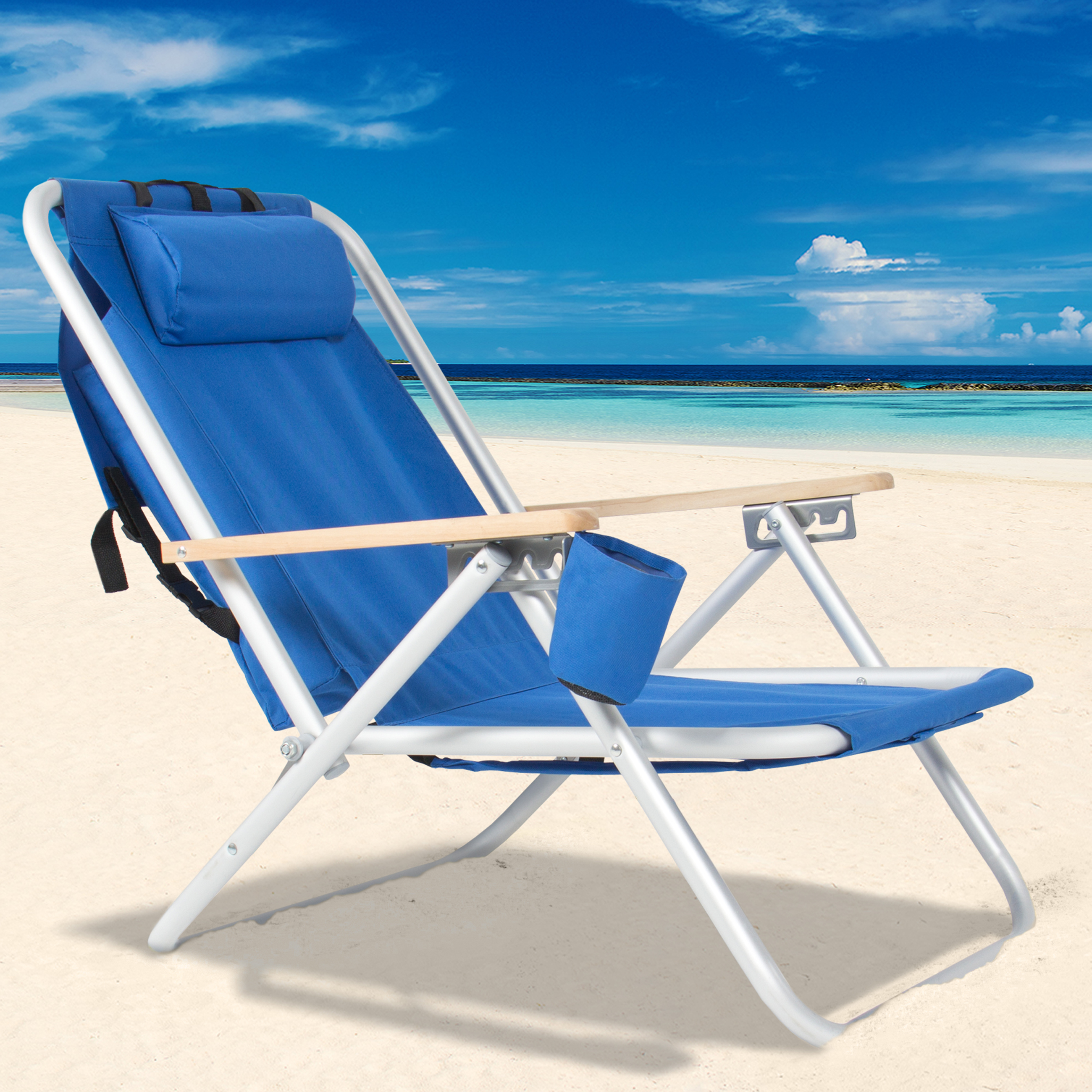 Details about Backpack Beach Chair Folding Portable Chair Blue Solid  Construction Camping New