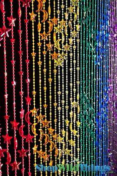 Stars & Moons Beaded Curtain - Rainbow Iridescent - 3 ft x 6 ft