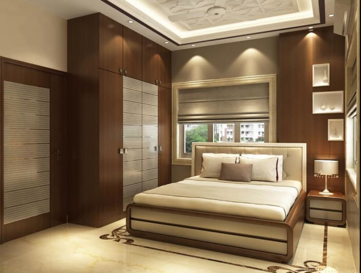Modern bedroom with wooden designed wall and wardrobe