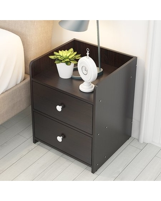 HURRISE Modern Nightstand Side End Table with 2 Drawers,Wooden Night Stand  End Bed-