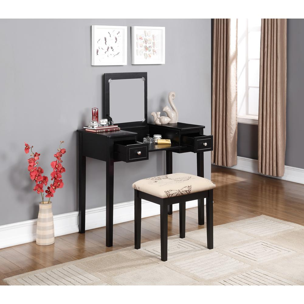 Linon Home Decor Black Bedroom Vanity Table with Butterfly Bench