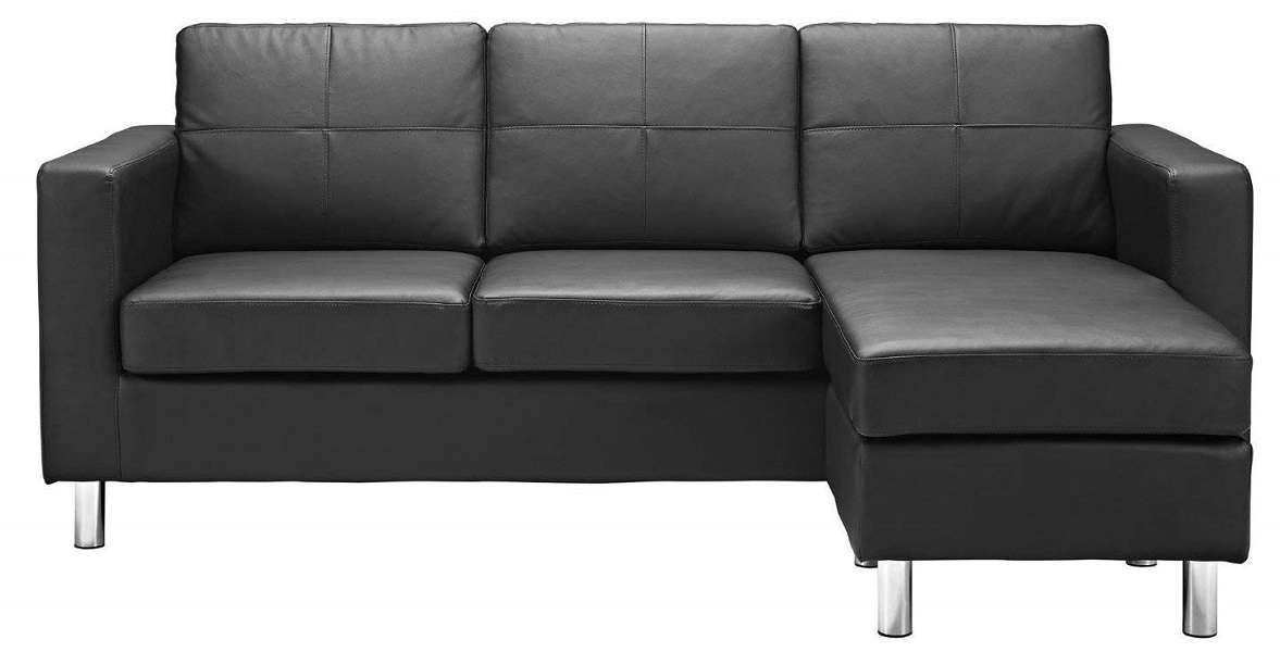 Modern Bonded Leather Sectional Sofa - Small Space Configurable Couch