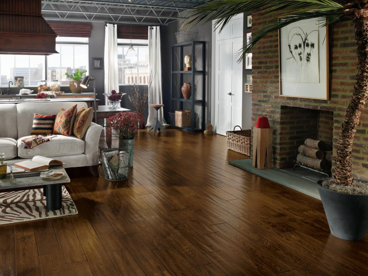 Contemporary Living Space with Wood Floor