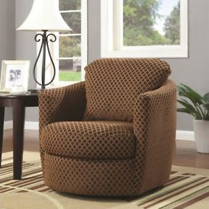 Image is loading Diamond-Pattern-Swivel-Chair-Brown-Club-Adult-New-