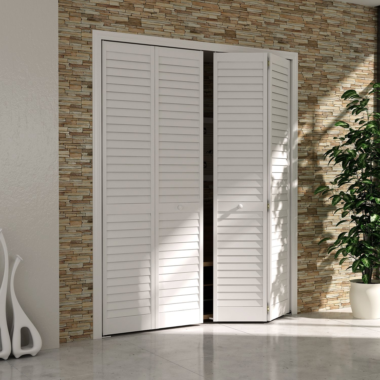 Traveller Location: Bi-fold Closet Door, Louver Louver Plantation White (24x80):  Home & Kitchen